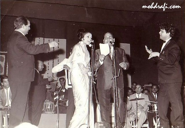 Shankar and Jaikishan with Sharmila Tagore and Mohd Rafi. - An Evening in Paris