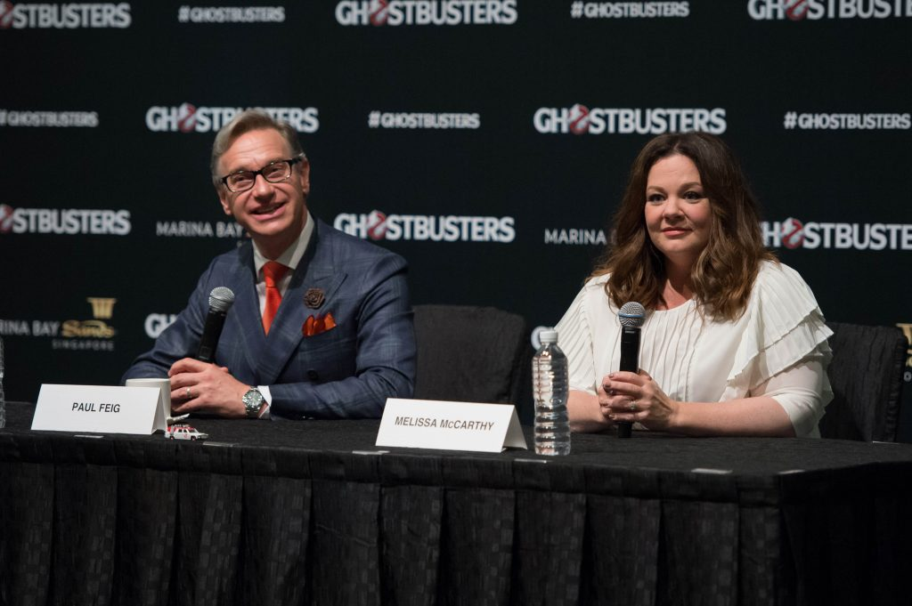 Paul Feig and Melissa McCarthy speak at the Ghostbusters press conference at the ArtScience Museum at Marina Bay Sands on June 13, 2016 in Singapore.
